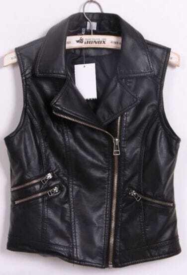 Black Notch Lapel Biker PU Leather Zip Vest