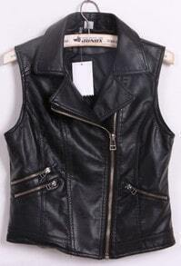Black Notch Lapel Biker PU Leather Zip Vest