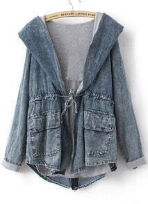 Blue Long Sleeve Cape Collar Hoody Drawstring Denim Coat