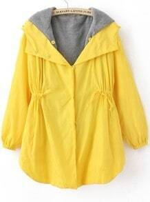 Yellow Long Sleeve Contrast Hoody Curved Hem Drawstring Coat