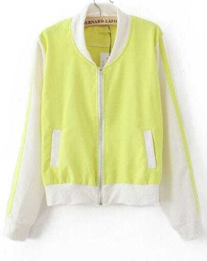 Yellow Contrast White Trims Long Sleeve Bomber Jacket