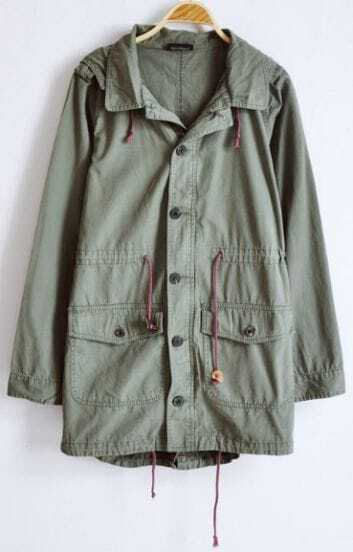 Army Green Long Sleeve Lapel Hoody Drawstring Vent Center Back Coat