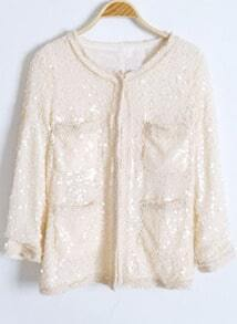 Beige Long Sleeve Round Neck Pockets Sequined Tweed Coat