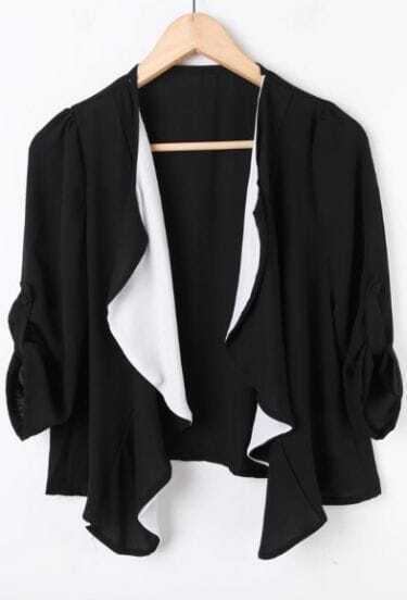 Black Rolled Sleeve Contrast Draped Front Chiffon Coat