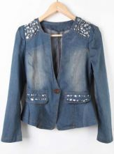 Blue Long Sleeve Rhinestone Shoulder Flare Hem Denim Coat