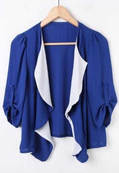 Royal Blue Rolled Sleeve Contrast Draped Front Chiffon Coat