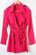 Rose Red Long Sleeve Double Breasted Self-tie Chiffon Trench Coat