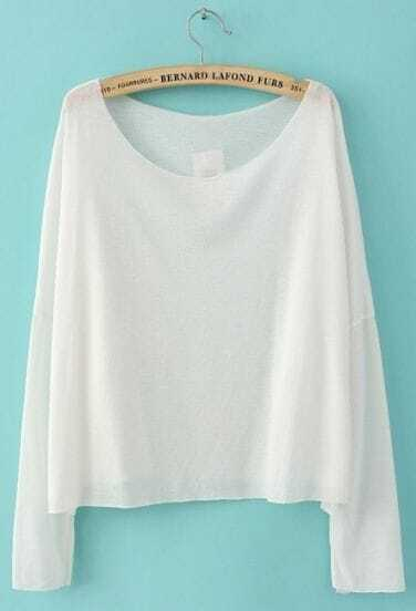 White Drop Shoulder Long Sleeve Scoop Neck Knitted Thin Jumper