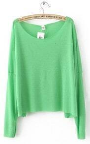 Green Drop Shoulder Long Sleeve Scoop Neck Knitted Thin Jumper