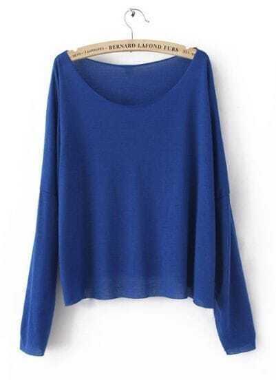Royal Blue Drop Shoulder Long Sleeve Scoop Neck Knitted Thin Jumper