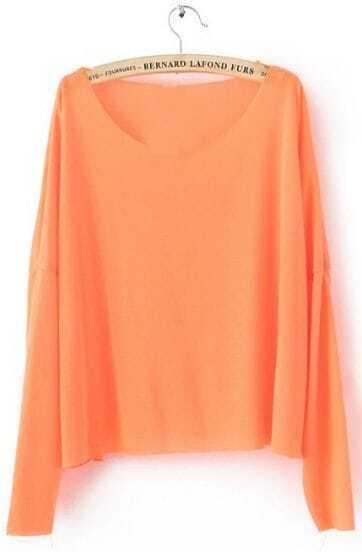 Orange Drop Shoulder Long Sleeve Scoop Neck Knitted Thin Jumper