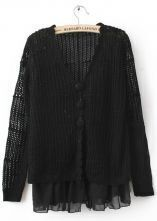 Black Scallop V-neck Long SLeeve Contrast Chiffon Hem Open Stitch Cardigan