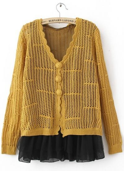 Yellow Scallop V-neck Long SLeeve Contrast Chiffon Hem Open Stitch Cardigan