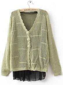 Light Green Scallop V-neck Long SLeeve Contrast Chiffon Hem Open Stitch Cardigan