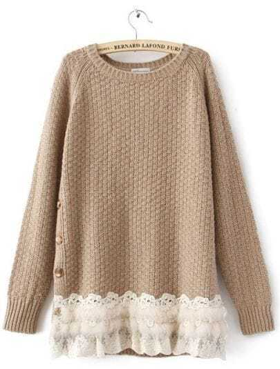 Coffee Long Sleeve Side Buttons Lace and Rabbit Fur Hem Jumper