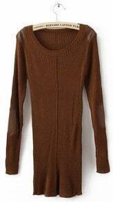 Dark Brown Long Sleeve Patched PU Leather Shoulder and Elbow Slim Sweater