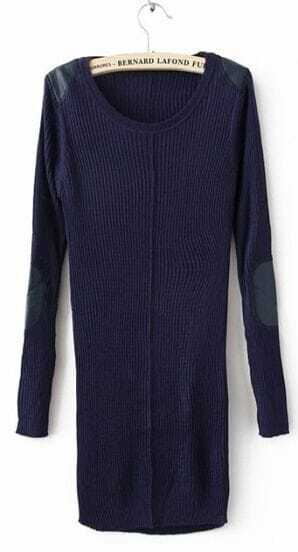 Navy  Long Sleeve Patched PU Leather Shoulder and Elbow Slim Sweater