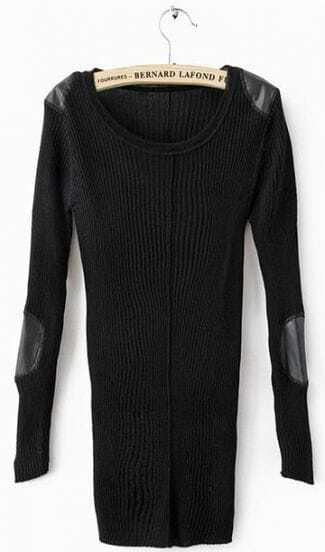 Black Long Sleeve Patched PU Leather Shoulder and Elbow Slim Sweater