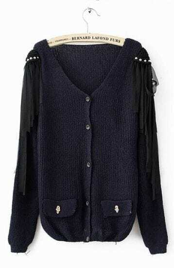 Navy Long Sleeve Tassel Shoulder Skull Embellished Pockets Cardigan