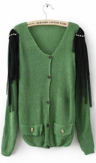 Green Long Sleeve Tassel Shoulder Skull Embellished Pockets Cardigan