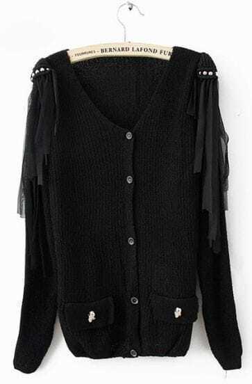 Black Long Sleeve Tassel Shoulder Skull Embellished Pockets Cardigan