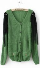Green Long Sleeve Tassel Shoulder Skull Embellished Pockets Cardigan