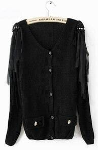 Black Long Sleeve Tassel Shoulder Skull Embellished Pockets Cardigan