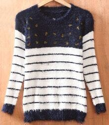 Navy White Stripes Anchor Embroidery Long Sleeve Fluffy Jumper