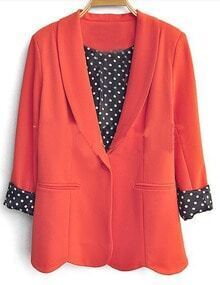 Orange Long Sleeve Shawl Collar Scallop Hem Polka Dot Inisde Blazer