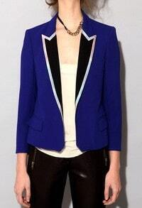 Royal Blue Contrast Collar Long Sleeve Side Vent Back Blazer