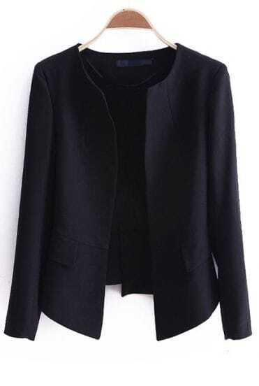 Black Long Sleeve Round Neck Pleated Crop Hem Chiffon Blazer