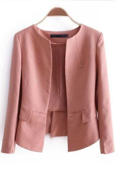 Pink Long Sleeve Round Neck Pleated Crop Hem Chiffon Blazer