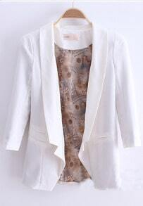 White Longline Notch Lapel Pads Shoulder Double Pockets Slim Blazer