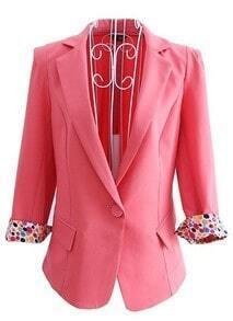 Pink Narrow Lapel Pockets Long Sleeve One Button Tuxedo Blazer