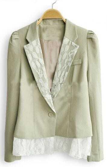 Light Green Frill Long Sleeve Lace Embellished Collar and Hem Blazer