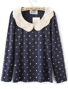 Navy Peter Pan Lace Collar Anchor and Heart Print Blouse