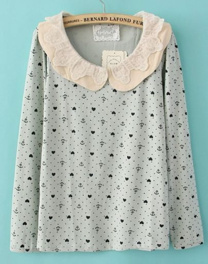 Light Green Peter Pan Lace Collar Anchor and Heart Print Blouse
