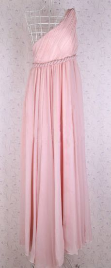 Pink Chiffon One Shoulder Maxi Dress