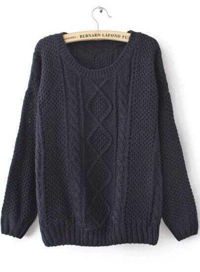 Navy Round Neck Broken Stripe Cable Sweater