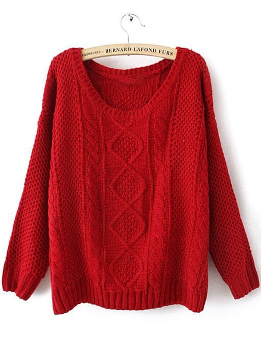 Red Round Neck Broken Stripe Cable Sweater -SheIn(Sheinside)