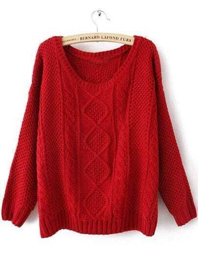 Red Round Neck Broken Stripe Cable Sweater