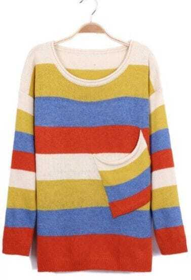 Red Yellow Pockets Loose Knit Sweater