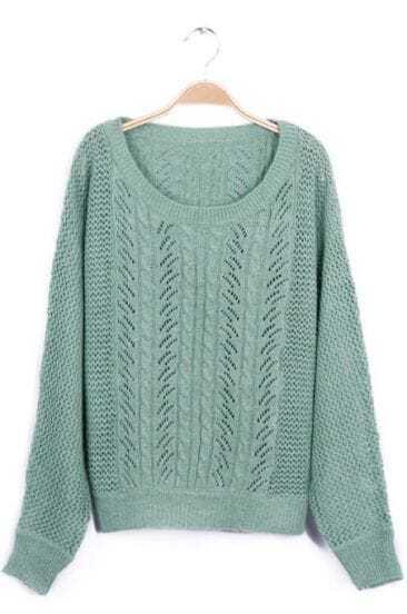 Green Broken Stripe Batwing Knit Sweater