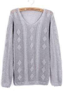 Grey Long Sleeve Geometric Knit Sweater