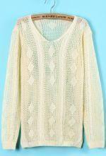 Beige Long Sleeve Geometric Knit Sweater
