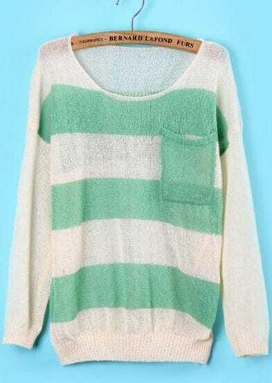 Green White Pockets Skull Print Knit Sweater