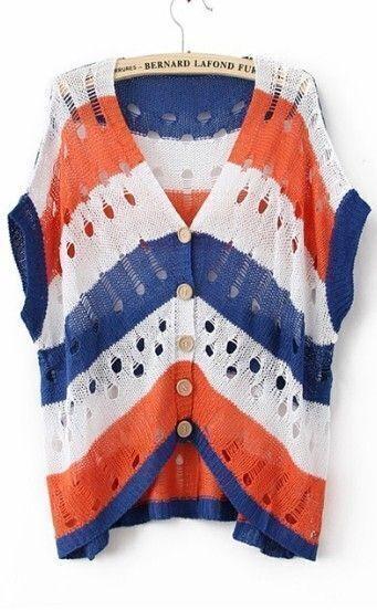 Navy Orange Stripes Sleeveless V-neck Hollow Out Cardigan