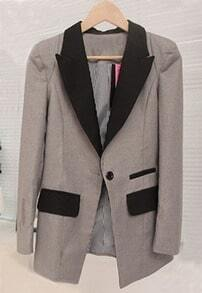 Grey Contrast Collar Single Button Pockets Suit
