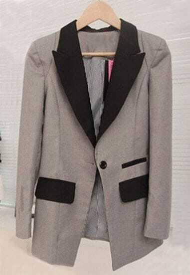 Grey Contrast Collar Single Button Pockets Suit