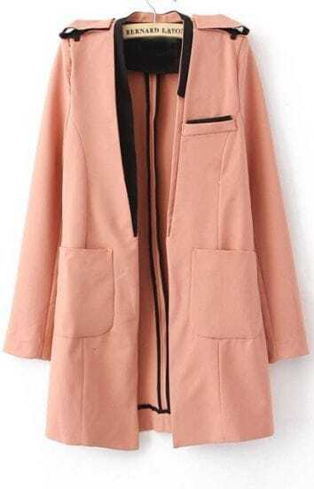 Camel Collarless Pockets Fitted Trench Coat